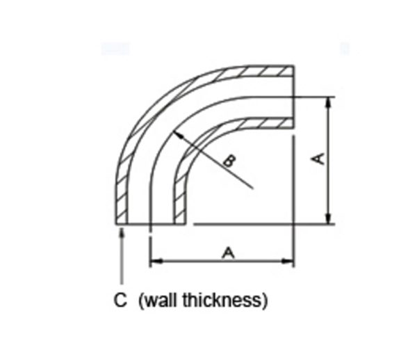 """ELBOW, 90D, W/TANGENT, WELD TUBE 0.75"""", 304 SS"""
