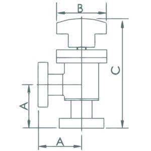 VALVE, ANGLE, MANUAL, SS, CF 1.33, CU GASKET