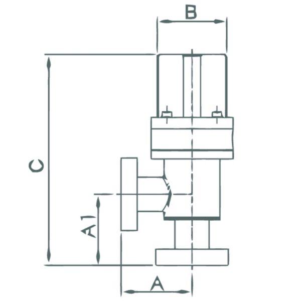 VALVE, ANGLE, PNEUMATIC, SS, CF 1.33, CU GASKET