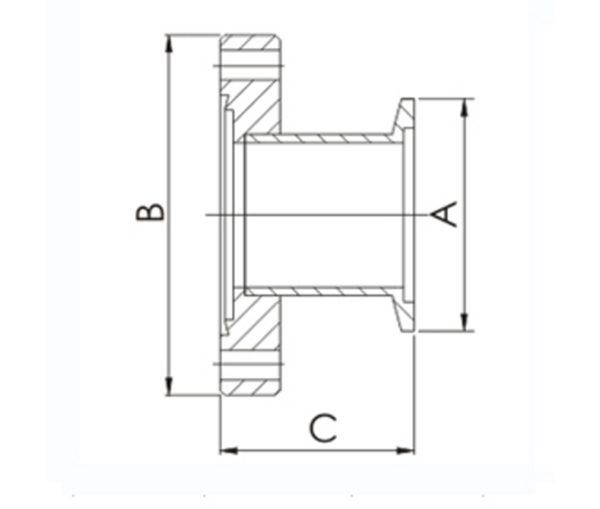 KF (QF) to CF adapter, KF (QF) 16 to CF 1-1/3 inch Flange,304 SS