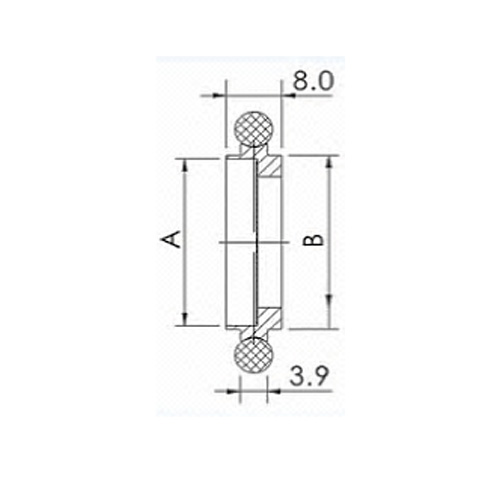 CENTER RING, KF (QF) 10, VITON, W/SCREEN, 304 SS