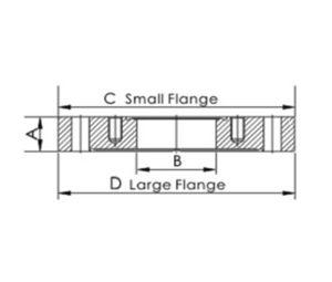 "FLANGE, REDUCER, ZERO LENGTH, CF 2.12""/CF 1.33"", 304L SS"