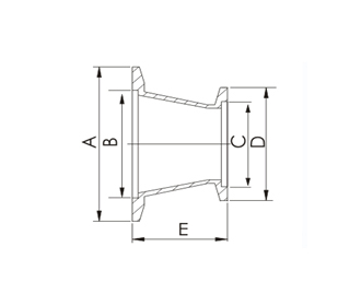"REDUCER, CONICAL, KF (QF) 25 X KF (QF) 16, 1.57"" L, 304 SS"