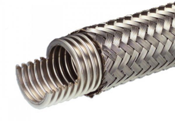 "Braided Bellows Vacuum Flex Hose,KF (QF) 16, 10"" long SS"