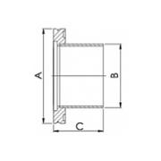 NIPPLE, HALF, ISO 63, 304 SS