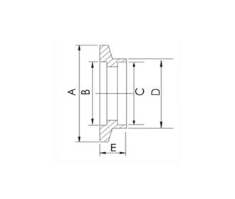 FLANGE, SOCKET WELD, KF (QF) 10, 304 SS, L 12.7 mm