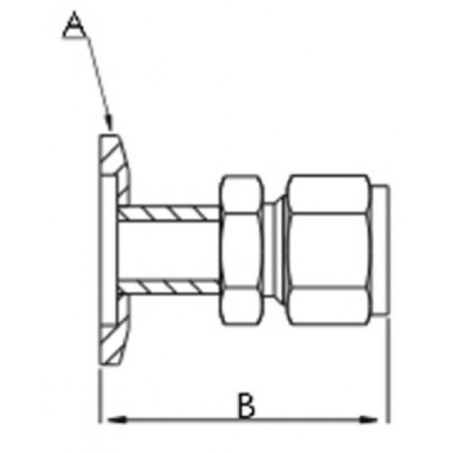 Adapter CF to Swagelok,1.33 x 1/2 Tube,304L SS