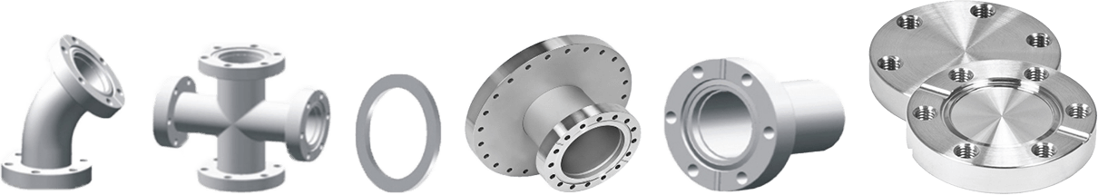 Vacuum Components - 6 Various CF Flanges and Fittings